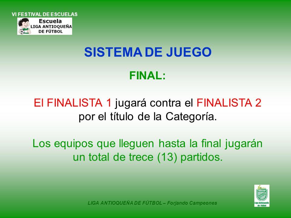 VI FESTIVAL DE ESCUELAS SISTEMA DE JUEGO FINAL: El FINALISTA 1 jugará contra el FINALISTA 2 por el título de la Categoría. Los equipos que lleguen has