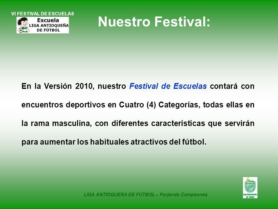 VI FESTIVAL DE ESCUELAS En la Versión 2010, nuestro Festival de Escuelas contará con encuentros deportivos en Cuatro (4) Categorías, todas ellas en la