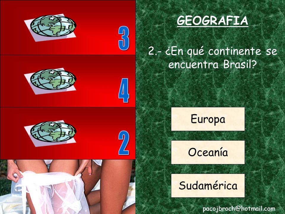 GEOGRAFIA 1.- ¿Cuál es la capital de Francia? Londres Paris Roma pacojbroch@hotmail.com