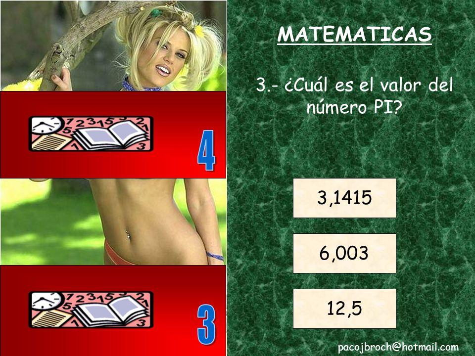 MATEMATICAS 2.- ¿Qué número entero equivale al triple de 20? 60 80 100 pacojbroch@hotmail.com
