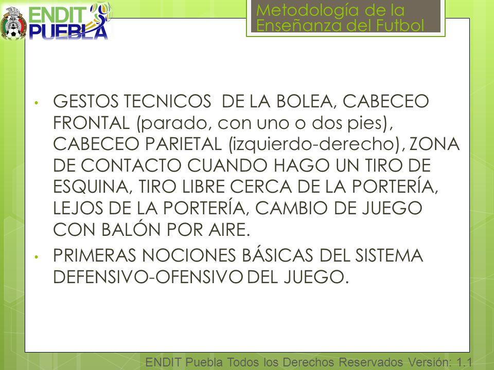 Metodología de la Enseñanza del Futbol ENDIT Puebla Todos los Derechos Reservados Versión: 1.1 GESTOS TECNICOS DE LA BOLEA, CABECEO FRONTAL (parado, con uno o dos pies), CABECEO PARIETAL (izquierdo-derecho), ZONA DE CONTACTO CUANDO HAGO UN TIRO DE ESQUINA, TIRO LIBRE CERCA DE LA PORTERÍA, LEJOS DE LA PORTERÍA, CAMBIO DE JUEGO CON BALÓN POR AIRE.