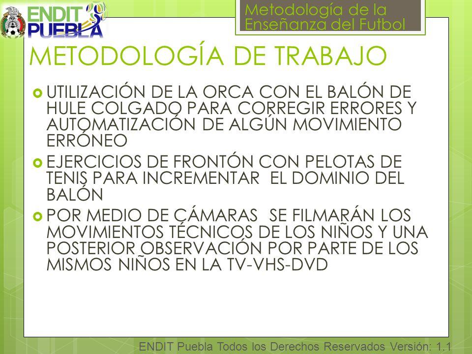 Metodología de la Enseñanza del Futbol ENDIT Puebla Todos los Derechos Reservados Versión: 1.1 METODOLOGÍA DE TRABAJO UTILIZACIÓN DE LA ORCA CON EL BALÓN DE HULE COLGADO PARA CORREGIR ERRORES Y AUTOMATIZACIÓN DE ALGÚN MOVIMIENTO ERRÓNEO EJERCICIOS DE FRONTÓN CON PELOTAS DE TENIS PARA INCREMENTAR EL DOMINIO DEL BALÓN POR MEDIO DE CÁMARAS SE FILMARÁN LOS MOVIMIENTOS TÉCNICOS DE LOS NIÑOS Y UNA POSTERIOR OBSERVACIÓN POR PARTE DE LOS MISMOS NIÑOS EN LA TV-VHS-DVD
