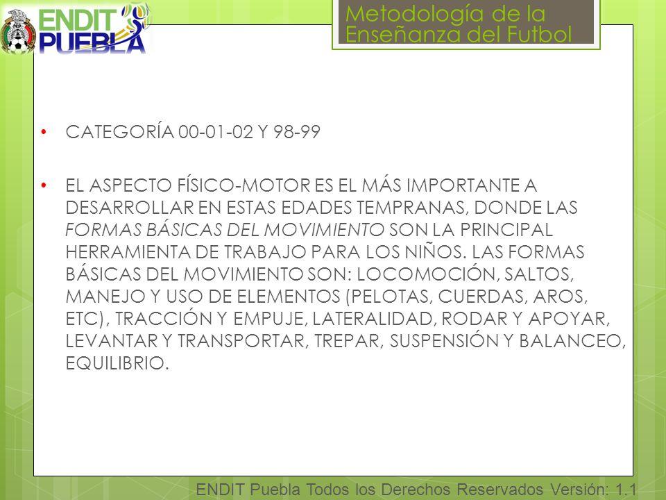Metodología de la Enseñanza del Futbol ENDIT Puebla Todos los Derechos Reservados Versión: 1.1 CATEGORÍA 00-01-02 Y 98-99 EL ASPECTO FÍSICO-MOTOR ES EL MÁS IMPORTANTE A DESARROLLAR EN ESTAS EDADES TEMPRANAS, DONDE LAS FORMAS BÁSICAS DEL MOVIMIENTO SON LA PRINCIPAL HERRAMIENTA DE TRABAJO PARA LOS NIÑOS.