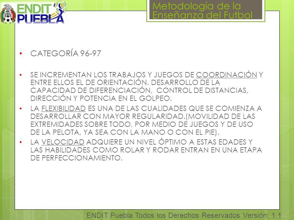 Metodología de la Enseñanza del Futbol ENDIT Puebla Todos los Derechos Reservados Versión: 1.1 CATEGORÍA 96-97 SE INCREMENTAN LOS TRABAJOS Y JUEGOS DE COORDINACIÓN Y ENTRE ELLOS EL DE ORIENTACIÓN.