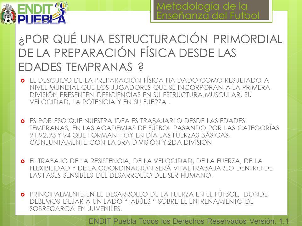 Metodología de la Enseñanza del Futbol ENDIT Puebla Todos los Derechos Reservados Versión: 1.1 ¿POR QUÉ UNA ESTRUCTURACIÓN PRIMORDIAL DE LA PREPARACIÓN FÍSICA DESDE LAS EDADES TEMPRANAS .