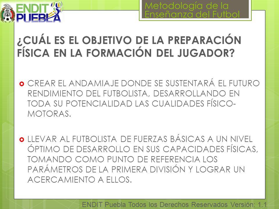 Metodología de la Enseñanza del Futbol ENDIT Puebla Todos los Derechos Reservados Versión: 1.1 ¿CUÁL ES EL OBJETIVO DE LA PREPARACIÓN FÍSICA EN LA FORMACIÓN DEL JUGADOR.