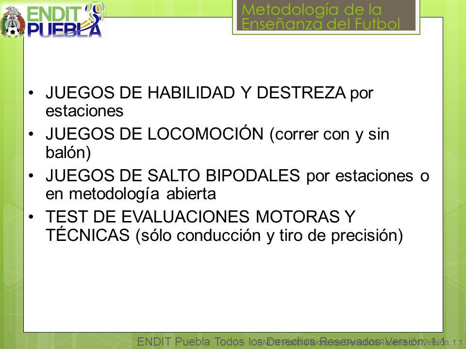 Metodología de la Enseñanza del Futbol ENDIT Puebla Todos los Derechos Reservados Versión: 1.1 JUEGOS DE HABILIDAD Y DESTREZA por estaciones JUEGOS DE LOCOMOCIÓN (correr con y sin balón) JUEGOS DE SALTO BIPODALES por estaciones o en metodología abierta TEST DE EVALUACIONES MOTORAS Y TÉCNICAS (sólo conducción y tiro de precisión)