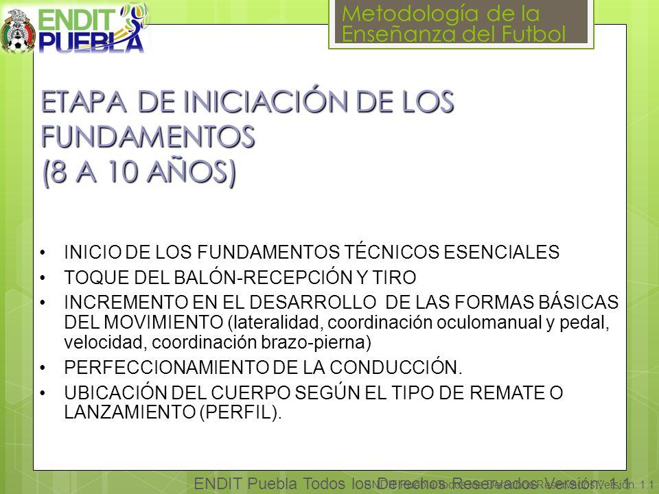 Metodología de la Enseñanza del Futbol ENDIT Puebla Todos los Derechos Reservados Versión: 1.1 ETAPA DE INICIACIÓN DE LOS FUNDAMENTOS (8 A 10 AÑOS) INICIO DE LOS FUNDAMENTOS TÉCNICOS ESENCIALES TOQUE DEL BALÓN-RECEPCIÓN Y TIRO INCREMENTO EN EL DESARROLLO DE LAS FORMAS BÁSICAS DEL MOVIMIENTO (lateralidad, coordinación oculomanual y pedal, velocidad, coordinación brazo-pierna) PERFECCIONAMIENTO DE LA CONDUCCIÓN.