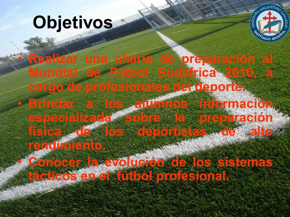 Objetivos Realizar una charla de preparación al Mundial de Fútbol Sudáfrica 2010, a cargo de profesionales del deporte. Brindar a los alumnos informac