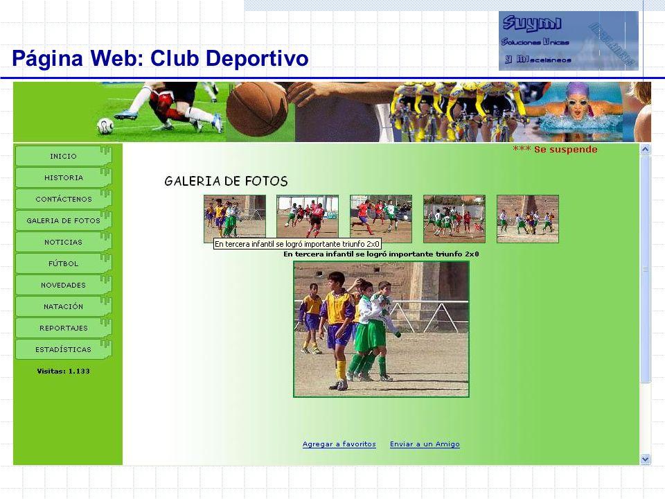 Objetivos Beneficios Página Web: Club Deportivo