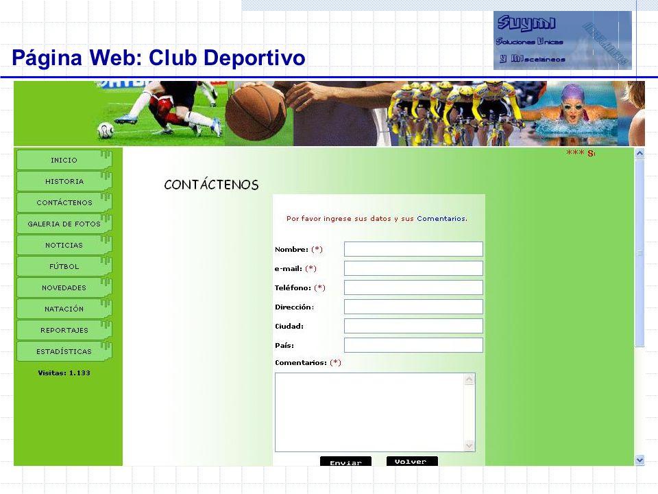 Objetivos Página Web: Club Deportivo