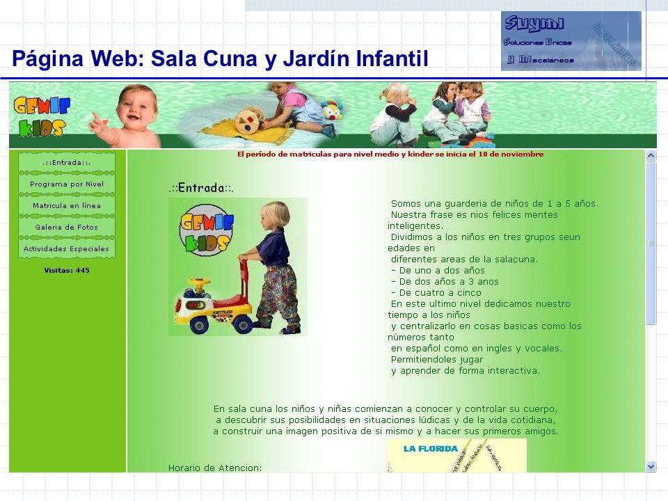 Objetivos Página Web: Sala Cuna y Jardín Infantil