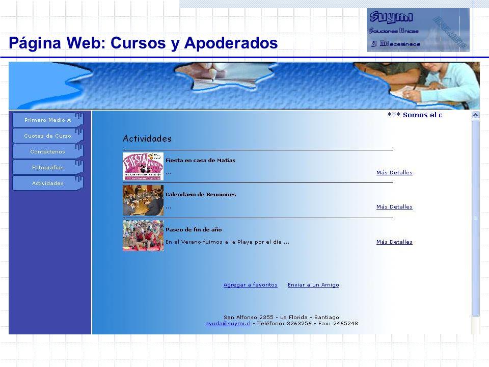Objetivos Página Web: Cursos y Apoderados