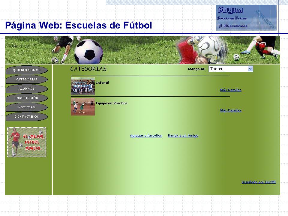 Objetivos Página Web: Escuelas de Fútbol