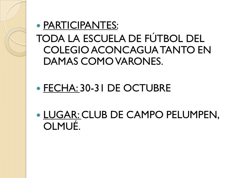 PARTICIPANTES: TODA LA ESCUELA DE FÚTBOL DEL COLEGIO ACONCAGUA TANTO EN DAMAS COMO VARONES. FECHA: 30-31 DE OCTUBRE LUGAR: CLUB DE CAMPO PELUMPEN, OLM