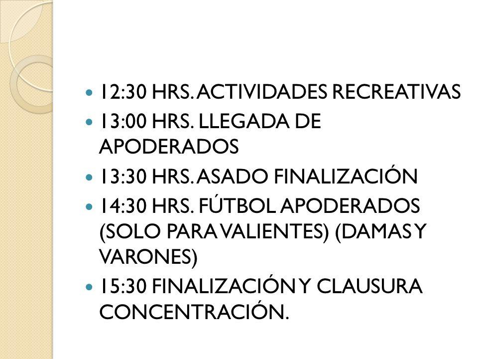 12:30 HRS. ACTIVIDADES RECREATIVAS 13:00 HRS. LLEGADA DE APODERADOS 13:30 HRS. ASADO FINALIZACIÓN 14:30 HRS. FÚTBOL APODERADOS (SOLO PARA VALIENTES) (