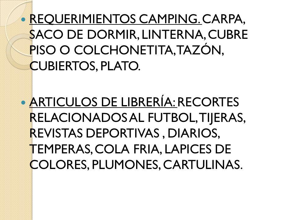 REQUERIMIENTOS CAMPING. CARPA, SACO DE DORMIR, LINTERNA, CUBRE PISO O COLCHONETITA, TAZÓN, CUBIERTOS, PLATO. ARTICULOS DE LIBRERÍA: RECORTES RELACIONA