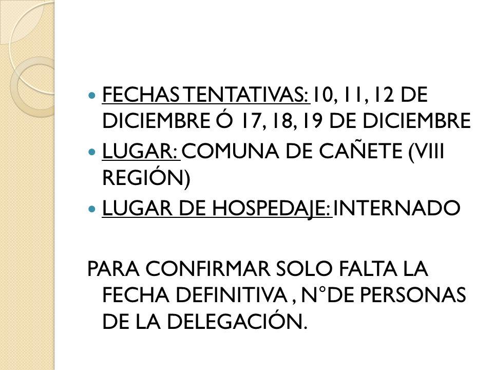 FECHAS TENTATIVAS: 10, 11, 12 DE DICIEMBRE Ó 17, 18, 19 DE DICIEMBRE LUGAR: COMUNA DE CAÑETE (VIII REGIÓN) LUGAR DE HOSPEDAJE: INTERNADO PARA CONFIRMA