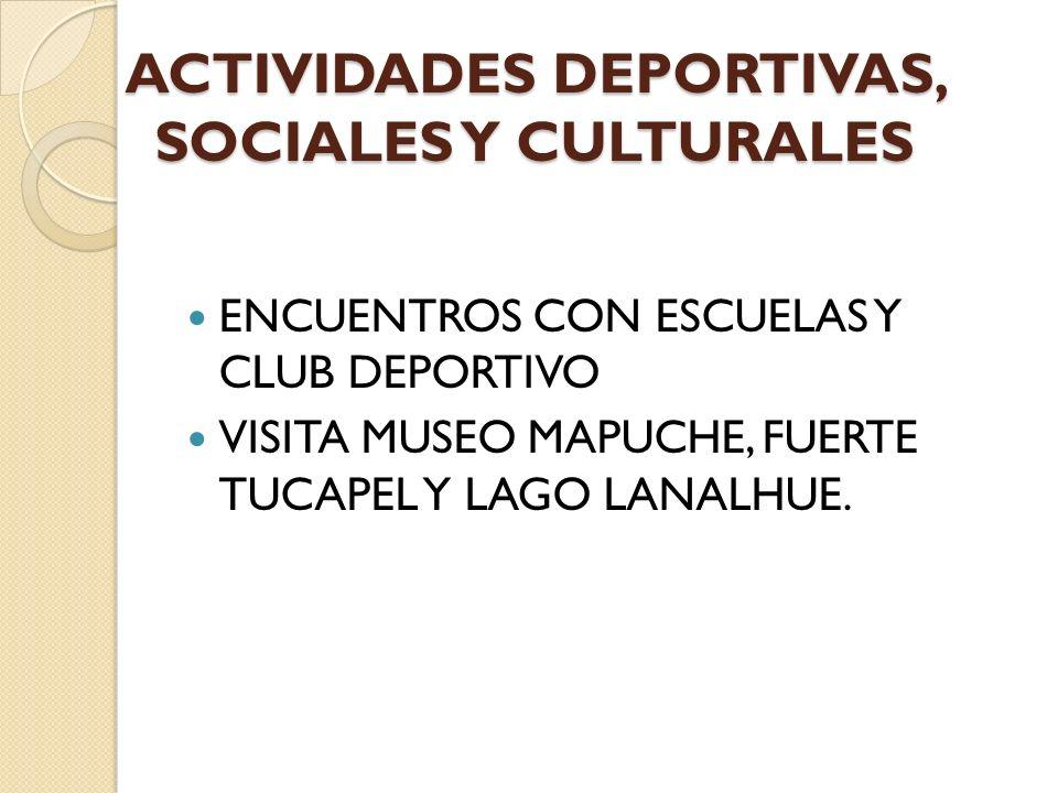 ACTIVIDADES DEPORTIVAS, SOCIALES Y CULTURALES ENCUENTROS CON ESCUELAS Y CLUB DEPORTIVO VISITA MUSEO MAPUCHE, FUERTE TUCAPEL Y LAGO LANALHUE.