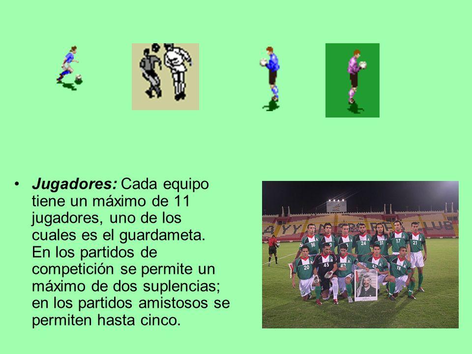 Jugadores: Cada equipo tiene un máximo de 11 jugadores, uno de los cuales es el guardameta. En los partidos de competición se permite un máximo de dos