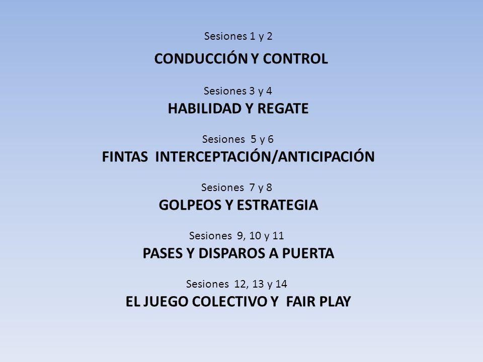 Sesiones 1 y 2 CONDUCCIÓN Y CONTROL Sesiones 3 y 4 HABILIDAD Y REGATE Sesiones 5 y 6 FINTAS INTERCEPTACIÓN/ANTICIPACIÓN Sesiones 7 y 8 GOLPEOS Y ESTRA