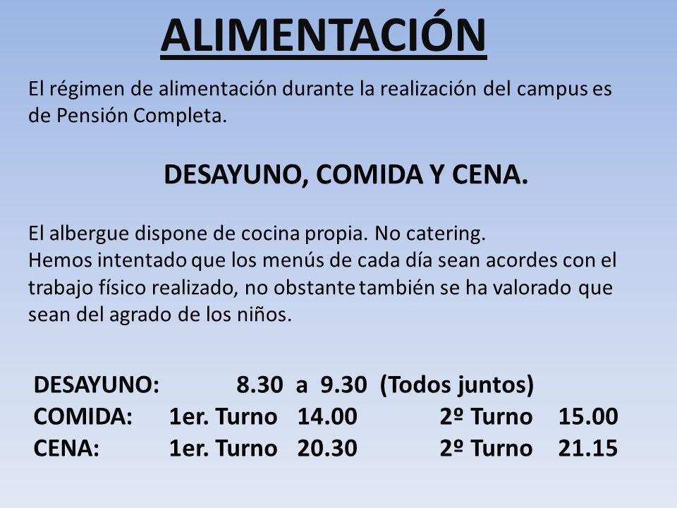 ALIMENTACIÓN El régimen de alimentación durante la realización del campus es de Pensión Completa. DESAYUNO, COMIDA Y CENA. El albergue dispone de coci