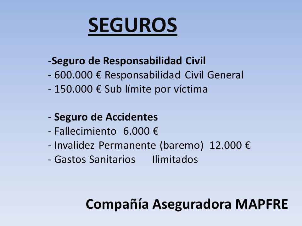 SEGUROS -Seguro de Responsabilidad Civil - 600.000 Responsabilidad Civil General - 150.000 Sub límite por víctima - Seguro de Accidentes - Fallecimien