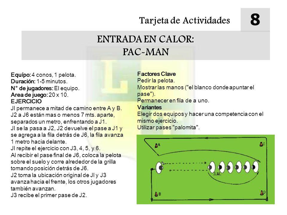 Tarjeta de Actividades 8 ENTRADA EN CALOR: PAC-MAN Equípo: 4 conos, 1 pelota. Duración: 1-5 minutos. N° de jugadores: El equipo. Area de juego: 20 x 1