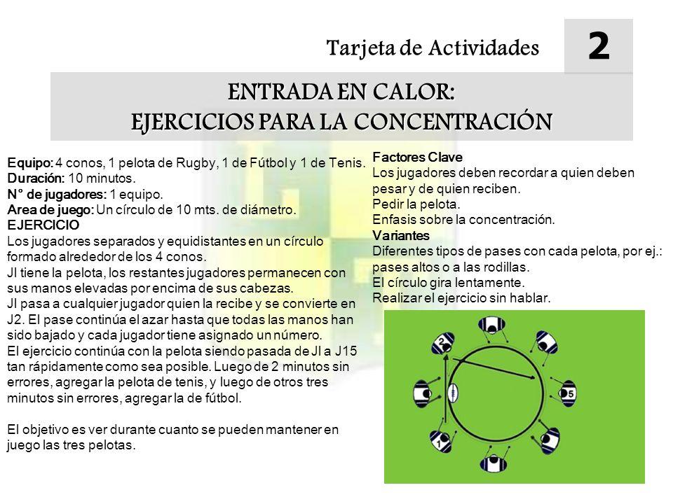 Tarjeta de Actividades 2 ENTRADA EN CALOR: EJERCICIOS PARA LA CONCENTRACIÓN Equipo: 4 conos, 1 pelota de Rugby, 1 de Fútbol y 1 de Tenis. Duración: 10