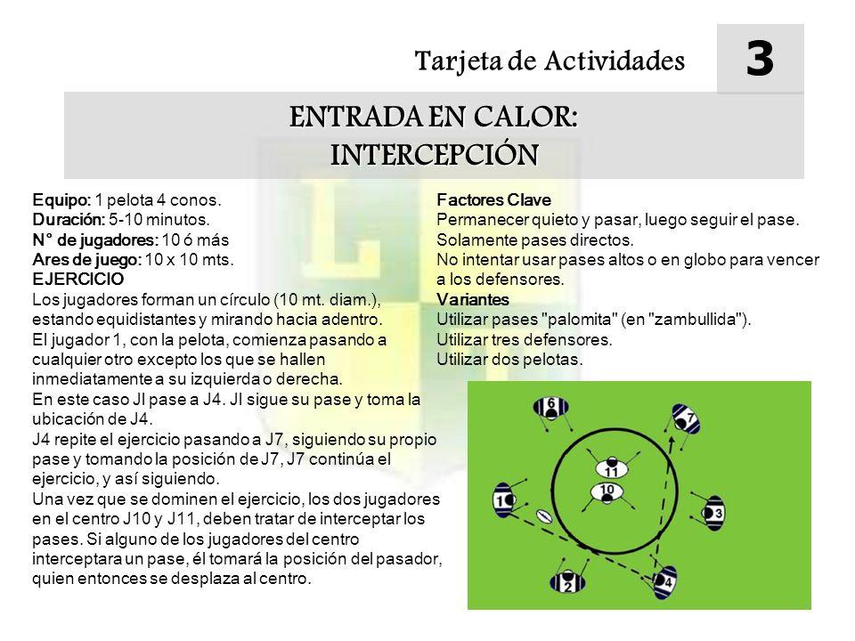 Tarjeta de Actividades 3 ENTRADA EN CALOR: INTERCEPCIÓN Equipo: 1 pelota 4 conos. Duración: 5-10 minutos. N° de jugadores: 10 ó más Ares de juego: 10