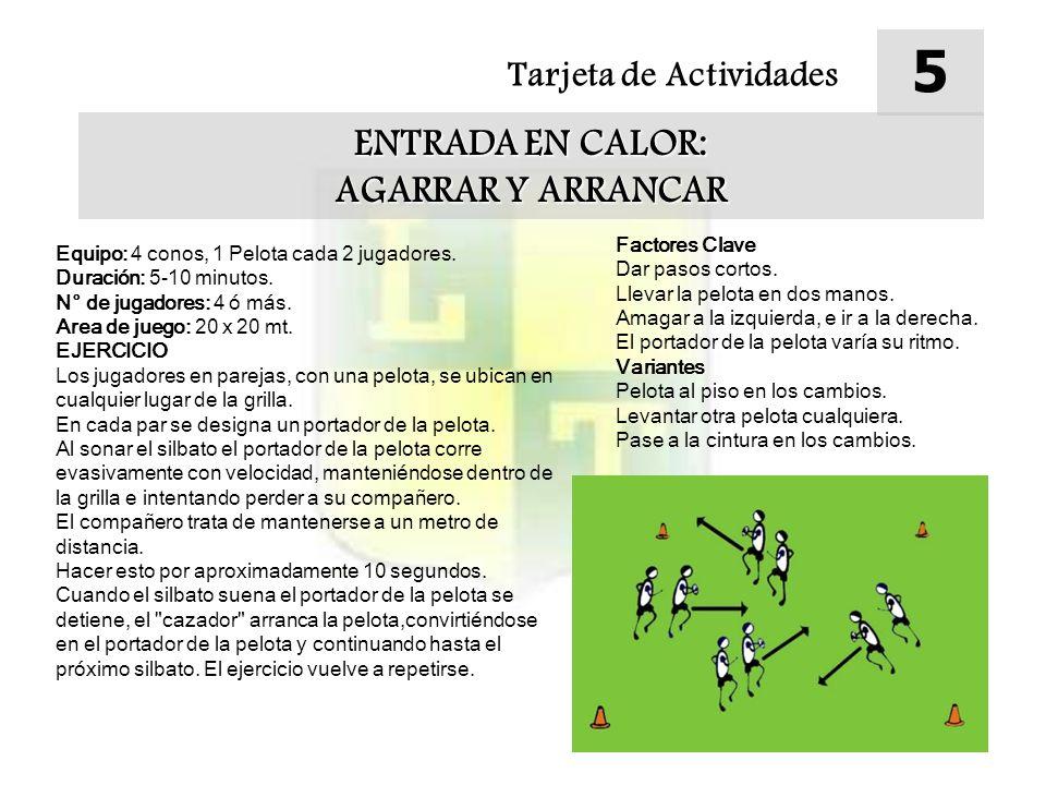 Tarjeta de Actividades 5 ENTRADA EN CALOR: AGARRAR Y ARRANCAR Equipo: 4 conos, 1 Pelota cada 2 jugadores. Duración: 5-10 minutos. N° de jugadores: 4 ó