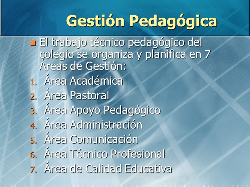 Gestión Pedagógica El trabajo técnico pedagógico del colegio se organiza y planifica en 7 Áreas de Gestión: El trabajo técnico pedagógico del colegio se organiza y planifica en 7 Áreas de Gestión: 1.