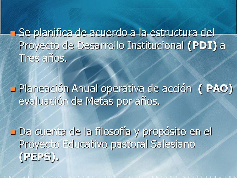 Se planifica de acuerdo a la estructura del Proyecto de Desarrollo Institucional (PDI) a Tres años.