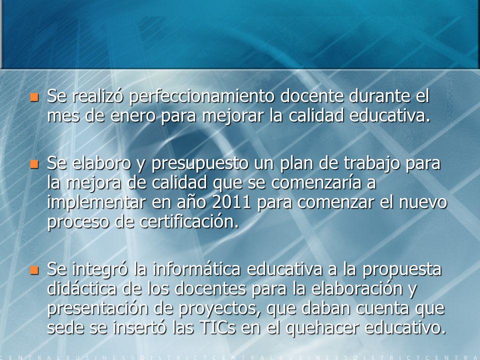 Se realizó perfeccionamiento docente durante el mes de enero para mejorar la calidad educativa.