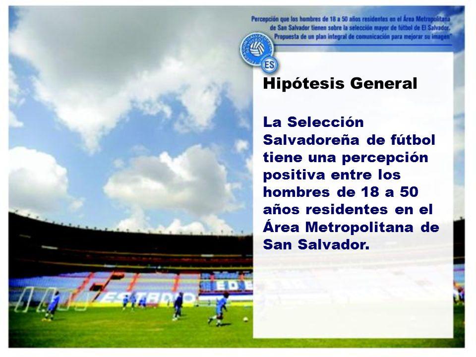 Hipótesis General La Selección Salvadoreña de fútbol tiene una percepción positiva entre los hombres de 18 a 50 años residentes en el Área Metropolitana de San Salvador.