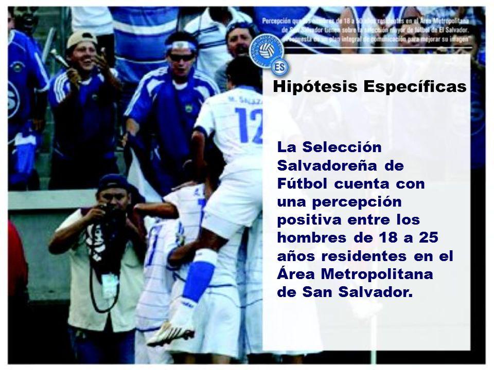 Hipótesis Específicas La Selección Salvadoreña de Fútbol cuenta con una percepción positiva entre los hombres de 18 a 25 años residentes en el Área Metropolitana de San Salvador.