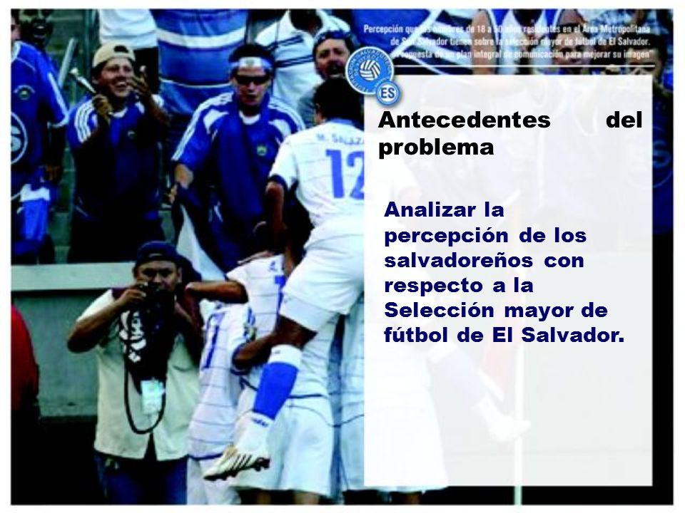 Antecedentes del problema Analizar la percepción de los salvadoreños con respecto a la Selección mayor de fútbol de El Salvador.