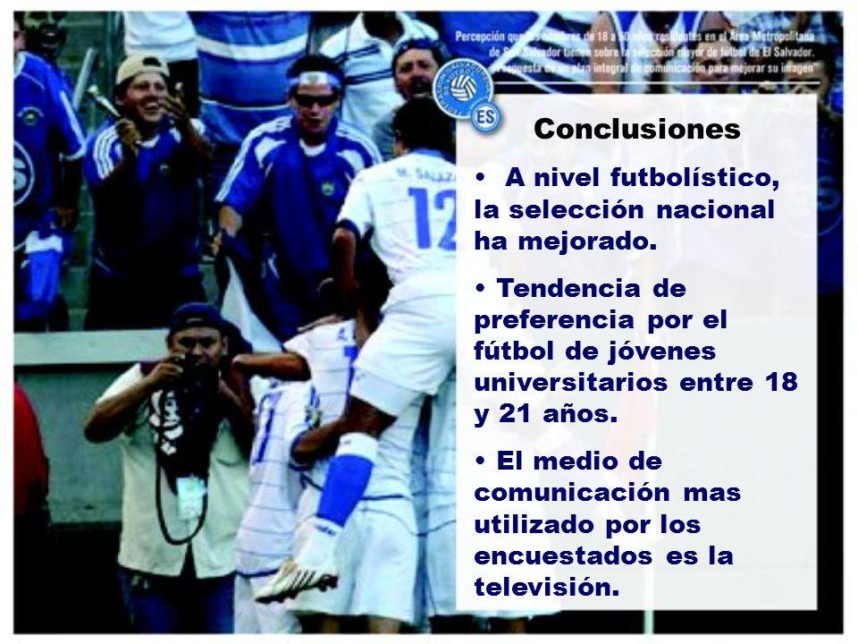 Conclusiones A nivel futbolístico, la selección nacional ha mejorado.