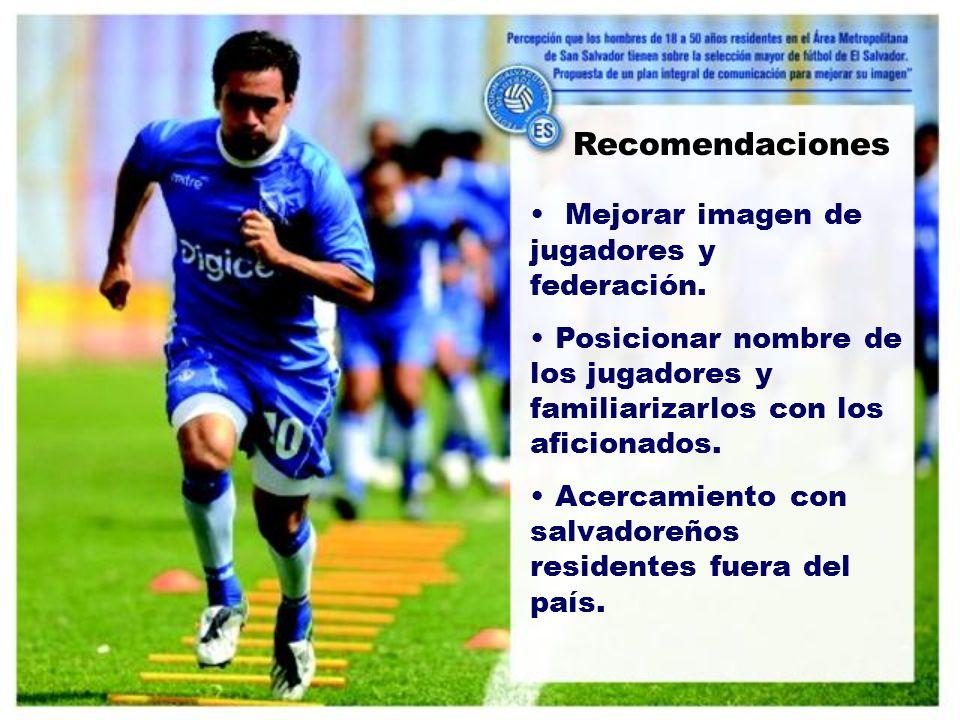 Recomendaciones Mejorar imagen de jugadores y federación.