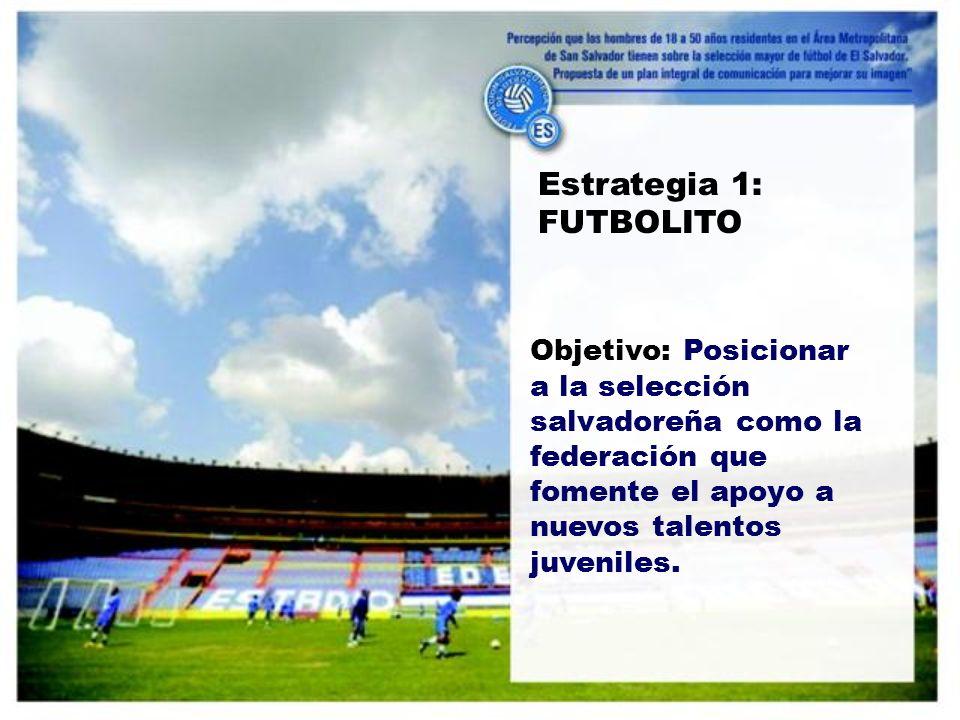 Estrategia 1: FUTBOLITO Objetivo: Posicionar a la selección salvadoreña como la federación que fomente el apoyo a nuevos talentos juveniles.