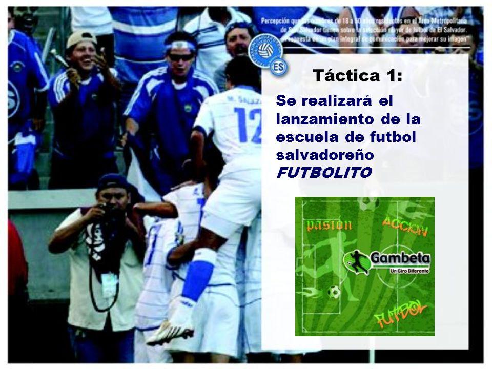Táctica 1: Se realizará el lanzamiento de la escuela de futbol salvadoreño FUTBOLITO