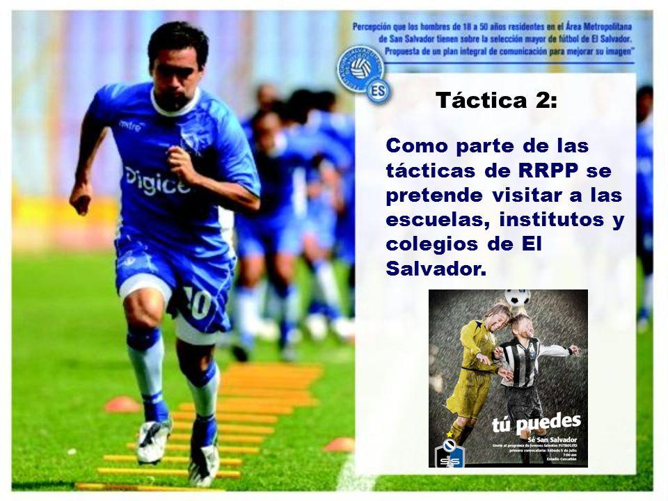 Táctica 2: Como parte de las tácticas de RRPP se pretende visitar a las escuelas, institutos y colegios de El Salvador.
