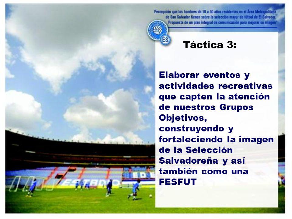 Elaborar eventos y actividades recreativas que capten la atención de nuestros Grupos Objetivos, construyendo y fortaleciendo la imagen de la Selección Salvadoreña y así también como una FESFUT Táctica 3: