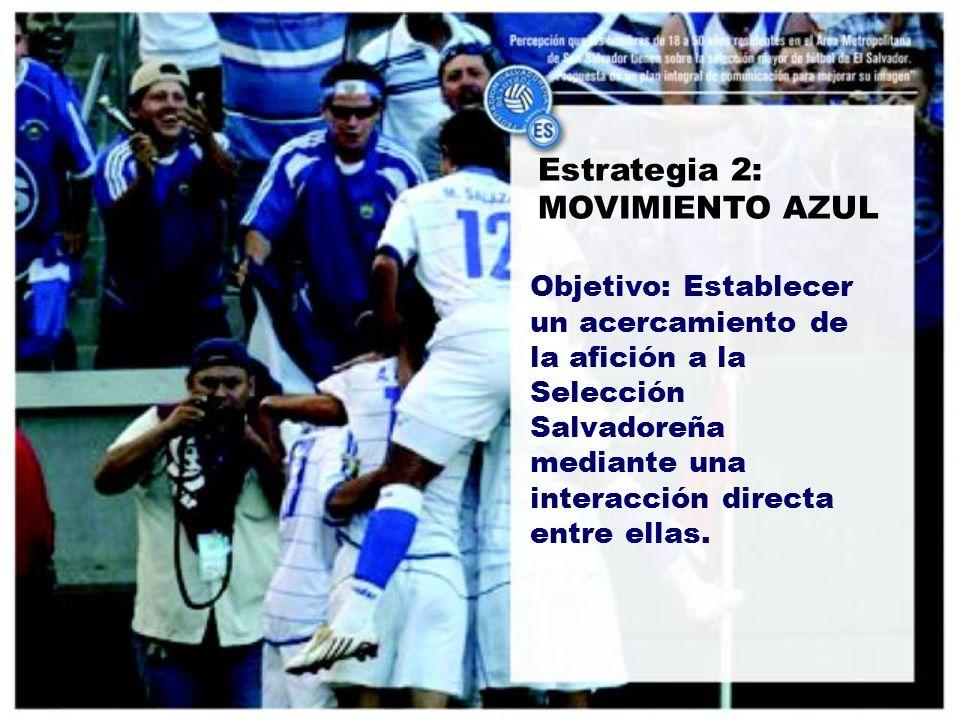 Estrategia 2: MOVIMIENTO AZUL Objetivo: Establecer un acercamiento de la afición a la Selección Salvadoreña mediante una interacción directa entre ellas.