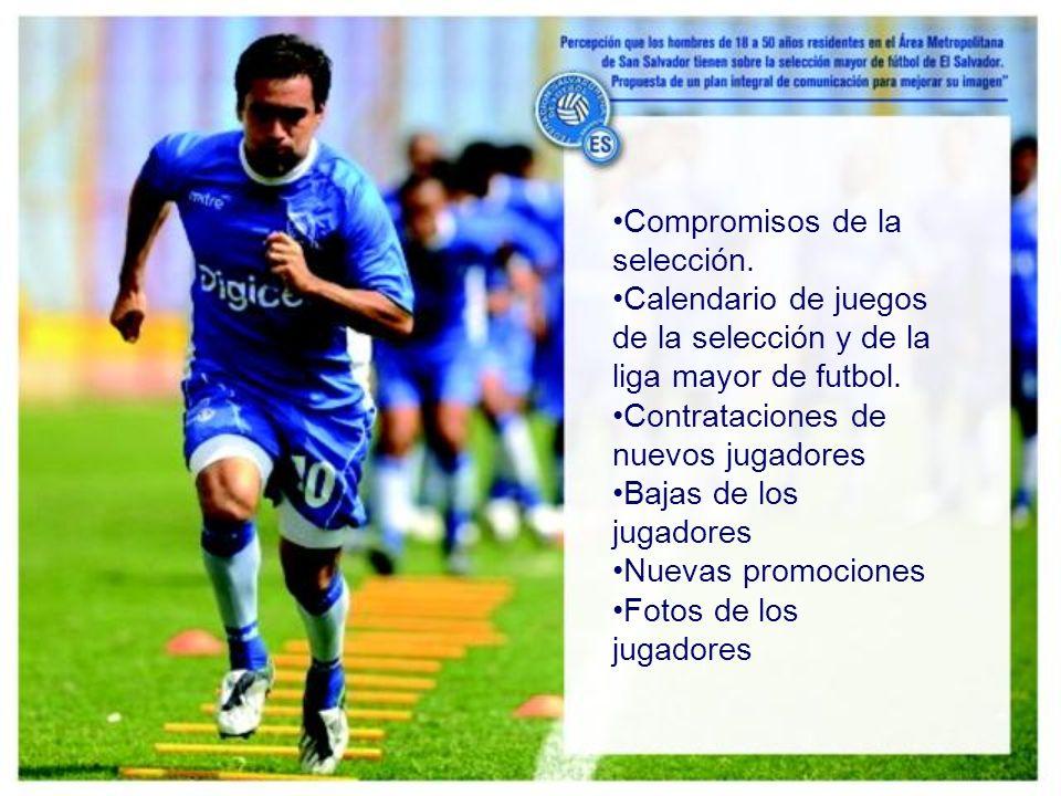 Compromisos de la selección. Calendario de juegos de la selección y de la liga mayor de futbol.