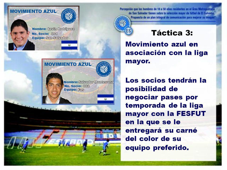 Táctica 3: Movimiento azul en asociación con la liga mayor.