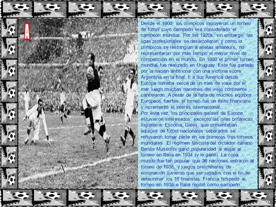 Desde el 1900, los olímpicos incluyeron un torneo de fútbol cuyo campeón era considerado el campeón mundial. Por los 1920s, sin embargo, las ligas pro
