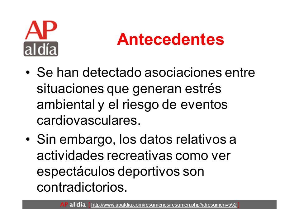 AP al día [ http://www.apaldia.com/resumenes/resumen.php?idresumen=552 ] Antecedentes Se han detectado asociaciones entre situaciones que generan estrés ambiental y el riesgo de eventos cardiovasculares.