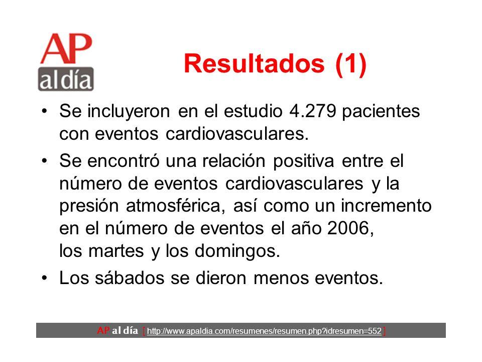 AP al día [ http://www.apaldia.com/resumenes/resumen.php?idresumen=552 ] Resultados (1) Se incluyeron en el estudio 4.279 pacientes con eventos cardiovasculares.