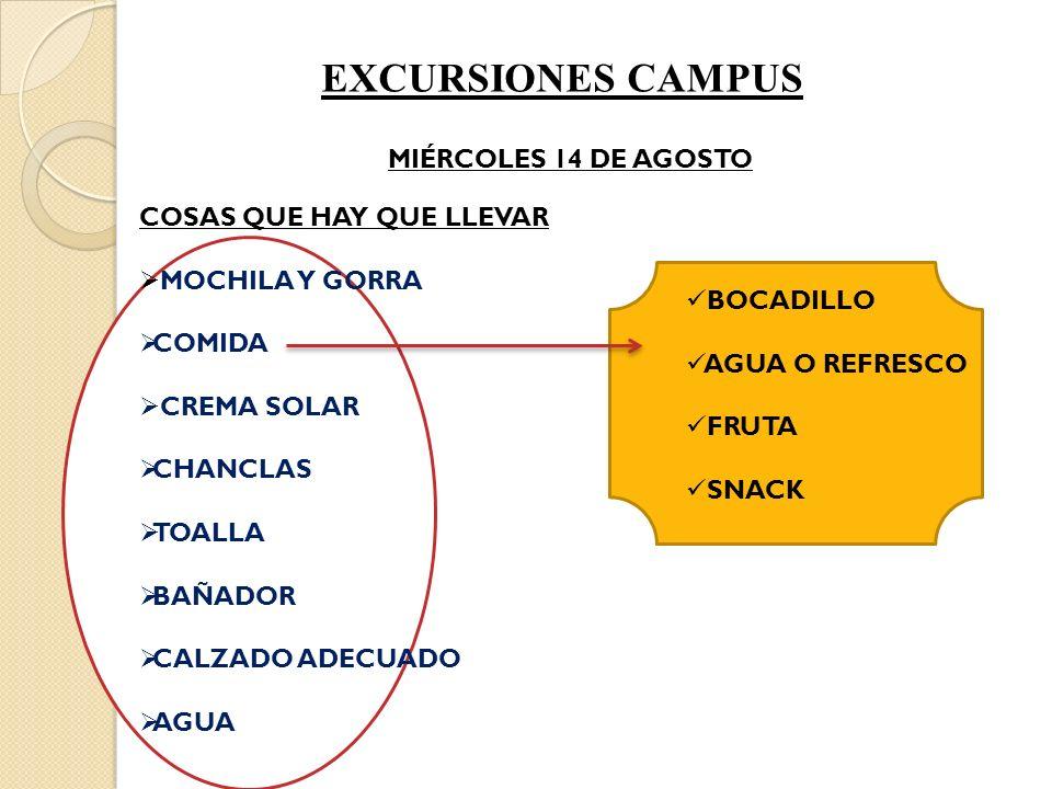 EXCURSIONES CAMPUS MIÉRCOLES 14 DE AGOSTO COSAS QUE HAY QUE LLEVAR MOCHILA Y GORRA COMIDA CREMA SOLAR CHANCLAS TOALLA BAÑADOR CALZADO ADECUADO AGUA BOCADILLO AGUA O REFRESCO FRUTA SNACK